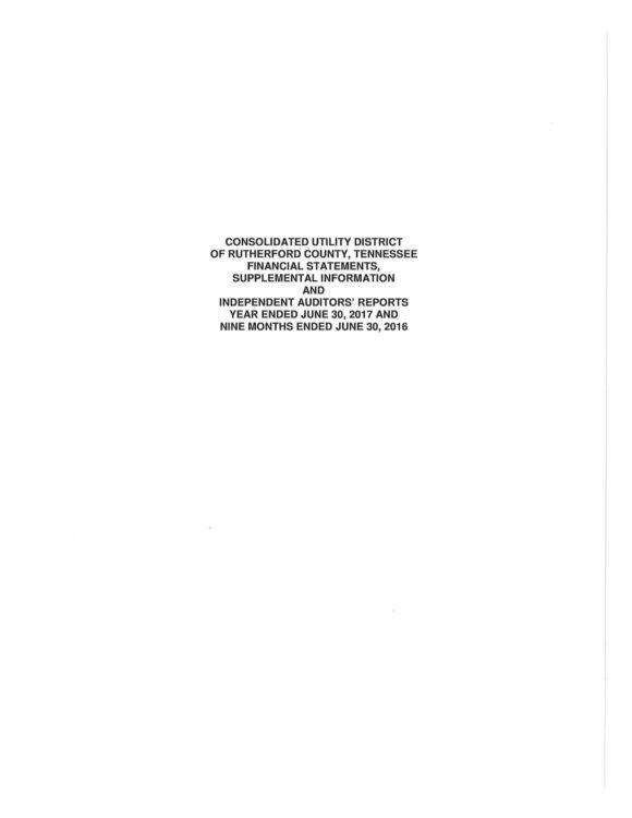 CUD Fiscal Year - 2017 Financial Audit